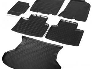 Комплект ковриков салона и багажника Rival полиуретан 6 штук на седан для Lada Priora № K16004002-1