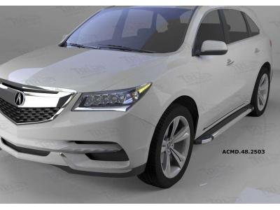 Пороги алюминиевые Brillant черные для Acura MDX