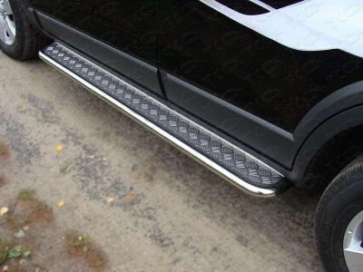 Пороги с площадкой нержавеющий лист 42 мм для Chevrolet Captiva