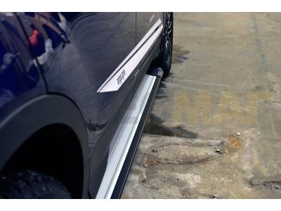 Пороги алюминиевые RAINBOW GREY для Suzuki Grand Vitara 3 двери 2005-2015