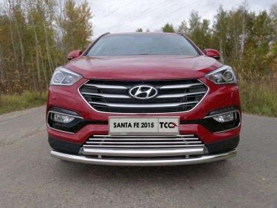 Накладка решётки радиатора 16 мм ТСС для Hyundai Santa Fe 2015-2018