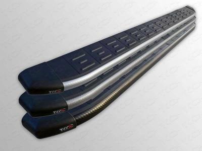 Пороги алюминиевые с пластиковой накладкой 1720 мм из 2-х мест для Kia Sorento