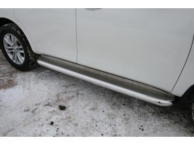 Пороги с площадкой алюминиевый лист 76 мм Союз96 для Nissan Patrol 2010-2019