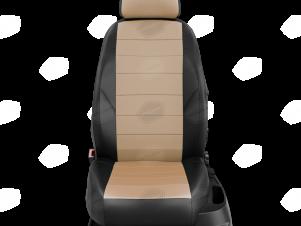 Чехлы экокожа бежевая с перфорацией с чёрными боковинами и спинкой вариант 1 для Nissan Teana 3 № NI19-0603-EC04