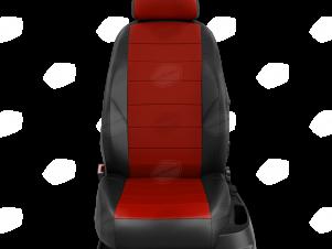Чехлы экокожа красная с перфорацией с чёрными боковинами и спинкой вариант 1 для Nissan Teana 3 № NI19-0603-EC06