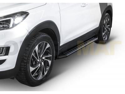 Пороги алюминиевые Rival Black для Hyundai Tucson/Kia Sportage 2016-2019