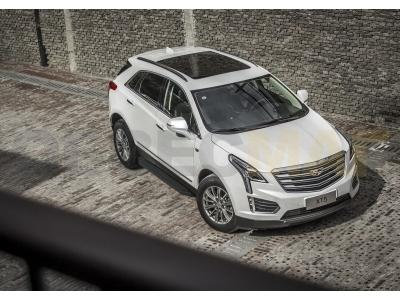 Пороги алюминиевые Rival Black для Cadillac XT5 2016-2019