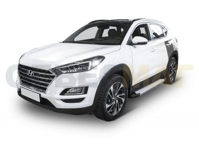 Пороги алюминиевые Rival Silver New для Hyundai Tucson/Kia Sportage