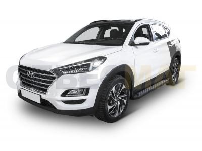 Пороги алюминиевые Rival Black New для Hyundai Tucson/Kia Sportage 2016-2019