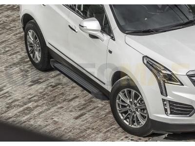 Пороги алюминиевые Rival Black New для Cadillac XT5 2016-2019