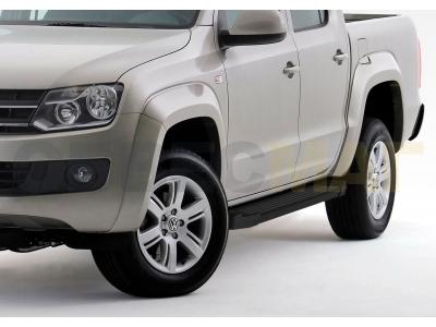 Пороги алюминиевые Rival Black New для Volkswagen Amarok 2010-2016
