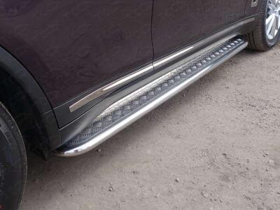Пороги с площадкой алюминиевый лист 42 мм ТСС для Infiniti QX70 2013-2017