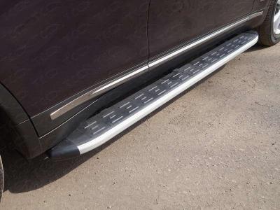 Пороги алюминиевые ТСС с накладкой для Infiniti QX70 2013-2017