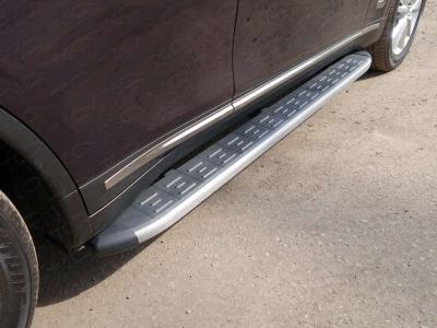 Пороги алюминиевые ТСС с накладкой серебристые для Infiniti QX70 2013-2017