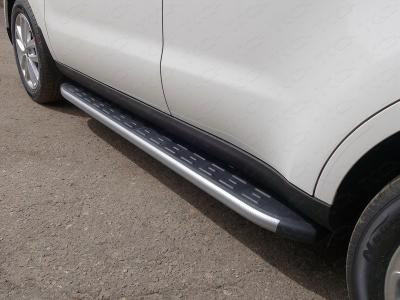 Пороги алюминиевые с накладкой ТСС серебристые для Kia Soul