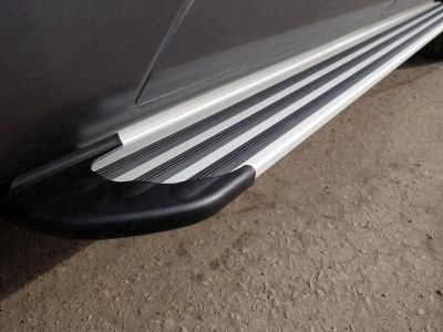 NISPATR10-14S Пороги алюминиевые Slim Line Silver ТСС для Nissan Patrol 2010-2013